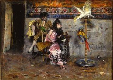 Il Matador, Coppia in abiti spagnoli con due pappagalli, dipinto. 2 dia 6x7 (B01.03.11-12), 2 negativi 6x7 striscia (B02.02.04), stampa 18x24 bianco e nero (G01.14.01), carige