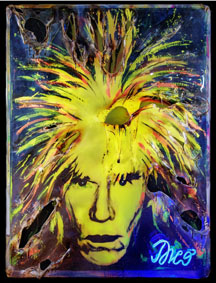 Enrico Dicò, Andy Warhol 1, Tecnica mista su tavola e plexiglas